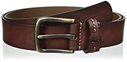 Tommy Hilfiger Men\'s Big-tall Casual Bridle Leather Jean Belt With Brass Finish Buckle, Brown, 46