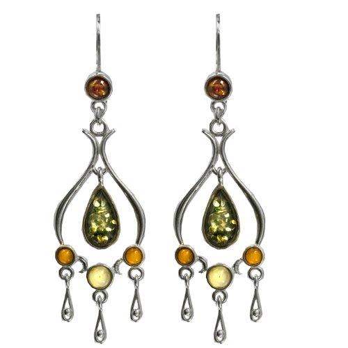 Sterling Silver Multicolor Amber Classic Fishhook Earrings