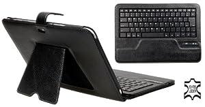 AVANTO Echt Ledertasche inkl. QWERTZ Bluetooth Tastatur für Samsung Galaxy Note GT N8000/N8010/N8020 mit Ständerfunktion schwarz