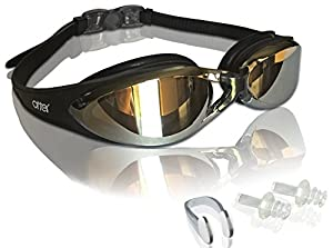 Adult Swim Goggles with FREE Pair of Earplugs and Swim Goggle Protective Case - Anti-Fog, Tinted, UV Protection and Anti-Shatter for Men, Women and Youth - Competitive and Recreational swimming