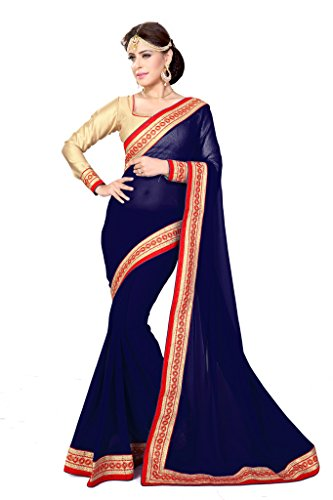 Sourbh Sarees Navy Blue Faux Georgette Lace Work Saree for Women Party Wear