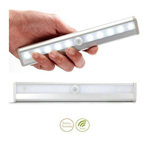 Tlt Wireless White 10-Led Pir Motion Sensor Closet Cabinet Drawer Night Light Led002