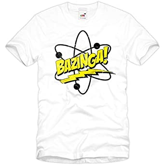style3 Bazinga T-Shirt Homme The Big Bang Theory Sheldon tbbt, Taille:S;Couleur:Blanc
