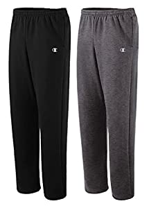 Champion Men's Open Bottom Eco Fleece Sweatpant Large Black/Granite Heather