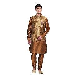 Favoroski Men Red Banarasi Jacquard Waistcoats