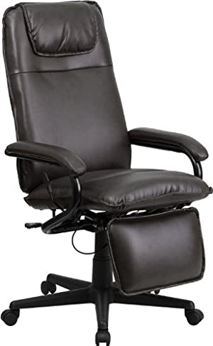 High Back Brown Leather Executive Reclining Swivel Office Chair
