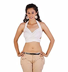Jaipur Kala Kendra Women's Rayon Beachwear Halter Tank Top Casual Wear Top Medium White