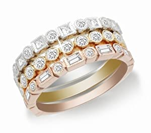 10k White, Yellow, and Rose Gold Diamond Stack Ring (1 cttw, I-J Color ...