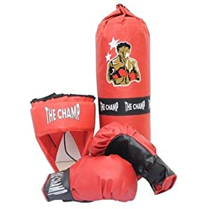 Boxing 4Pc Set With Bag, Red & Black