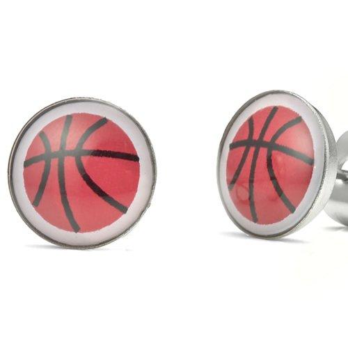 Basketball Fever Stainless Steel Stud Earrings for Men