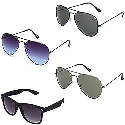 Rhodopsin UV Protected Grey Blue Aviator,Black Aviator,Grey Aviator and Black Wayfarer Sunglasses (4_Grey_Blue_Black_Grey_Avt_Black_Way)