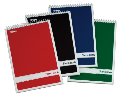 TOPS Spiral Steno Books, 6 x 9 Inches, Gregg Rule, White Paper, Assorted Covers, 80 Sheets per Book, 4 Books per Pack (80220) (Tops Notebook compare prices)
