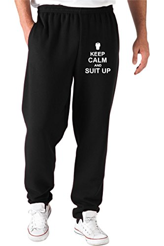 T-Shirtshock - Pantaloni Tuta TR0085 Keep Calm and Suit Up 25mm 1 Pin Badge Barney Stinson How I Met Your Mother, Taglia M
