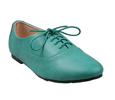REFRESH GALEN-01 Women's almond toe lace up casual oxfords on flat bottom with plain PU upper