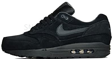 Nike Air Max 1 Premium Black Black New Mens Leather Trainers Shoes Boots-14