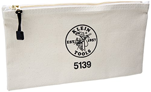 Klein Tools 5139 12-1/2-Inch Canvas Zipper Bag,White,Small (Klein Tool Bag Canvas compare prices)
