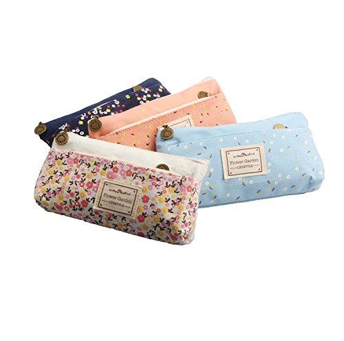 Haberi Set of 4 Pen Pencil Pouch Bag Case Flower Floral Canvas Case Coin Purse Pouch Cosmetic Makeup Bag Stationery(Pastoral)