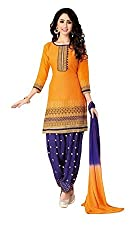 Pandadi Creation Women's Cotton Orange Color Dress Material with Naznin Dupatta ( Rs.50 Off )