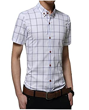 【PALERO・パレロ】 選べる7色 チェックシャツ Yシャツ シャツ メンズ トップス 半袖 チェック カジュアルシャツ カラーシャツ スタイル 春 夏 (M, ホワイト)