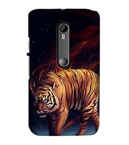Printvisa Tiger Tiger Burning Bright Back Case Cover for Motorola Moto G3::Motorola Moto G (3rd Gen)