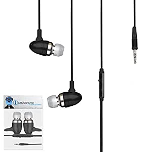 Black Premium 3.5mm Aluminium In Ear Stereo Wired Headset Hands Free Headphones with Built in Mic Microphone and On Off Button For BlackBerry 8310 Curve