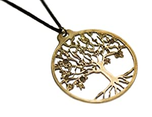 Tree of Life Peace Bronze Pendant Necklace on Adjustable Natural Fiber Cord