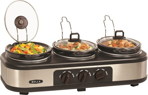 Bella 3 X 1.5 Quart Triple Slow Cooker with Lid Rests (Bella Crock compare prices)