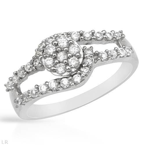 Ring With 0.75ctw Cubic zirconia Made of 925 Sterling silver (Size 6)