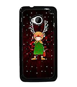PrintDhaba Cartoon D-3090 Back Case Cover for HTC ONE M7 (Multi-Coloured)