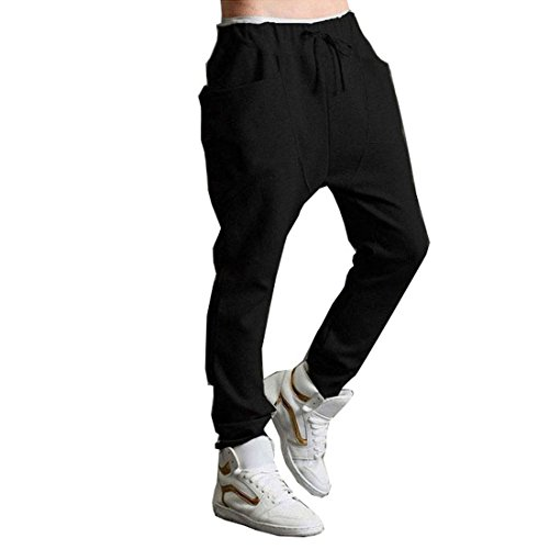Changeshopping Men Baggy Hip Hop Dance Sweat Pants Slacks Trousers (M, Black)