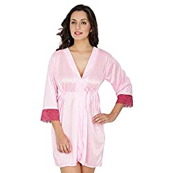 Klamotten Pink Satin Robe with Lace X209_BPnk