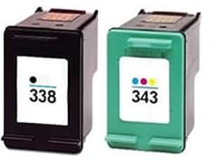 Compatible HP 338 & 343 ( C8765ee / C8766EE ) Black & Colour Ink Cartridge Pack
