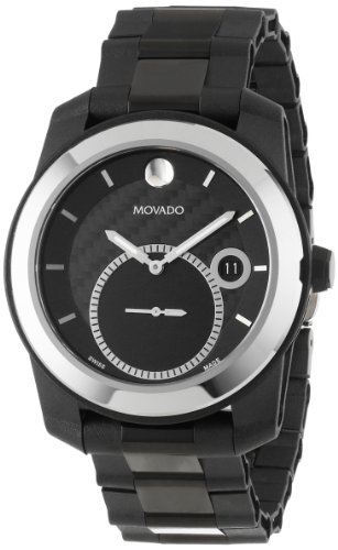 Movado Men's 0606614 Vizio Tungsten Carbide Bezel Black PVD Bracelet Black Dial White Accents Watch