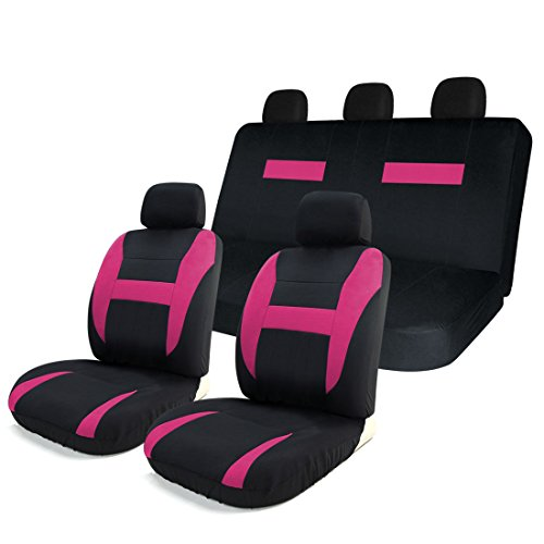 8PC Mesh Car Seat Covers Full Set - Airbag Compatible - Detachable Headrests & Breathable Materials - Universal Fit for Cars, Trucks, SUVS & Vans Tan / Blue / Pink / Purple / Red (Pink) (Purple And Blue Car Seat Cover compare prices)
