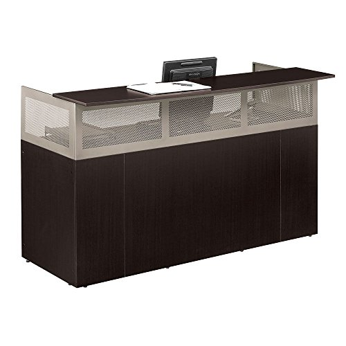 Espresso Laminate Reception Desk with Pedestal, Brushed Nickel Frame - At Work Collection (Laminate Reception Desk Espresso compare prices)