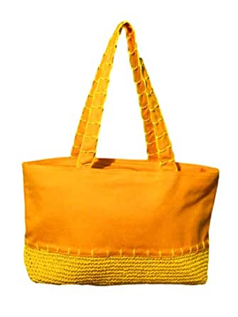 Large Canvas - Straw Like Beach Bag Tote (TANGERINE)