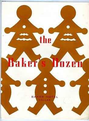 The Baker's Dozen Menu Baker Hotel Dallas Texas 1950's Gingerbread Cookie Cover (Hotel Dallas compare prices)