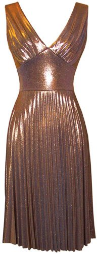 Pleated Metallic Stretch Holiday Party Cocktail Prom Dress, Small, Bronze