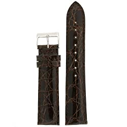Watch Band Genuine Crocodile Dark Brown Padded Mens 22 millimeter