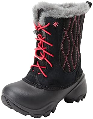 Columbia Snow Canyon Omni-Heat Waterproof Bungee and Toggle Winter Boot,Black/Bright Rose,8 M US Toddler