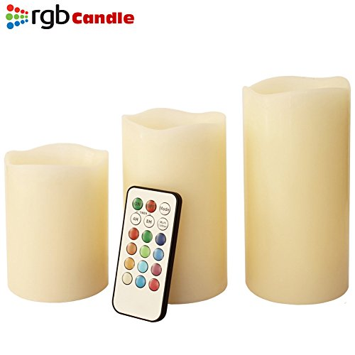 Bakaji Tre candele senza fiamma, profumate alla vaniglia, con telecomando e timer, a colore cangiante, dimensioni disponibili: 10, 12 e 15 cm