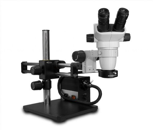 Scienscope Sz-Pk5-An-D Ssz-Ii Pk5 Series Stereo Zoom Binocular Microscope With Body On Dual Arm Boom Stand, 10X Eyepieces, 0.5X Auxiliary Lens, Led Illuminator, Fiber Optic Annular Ring Light
