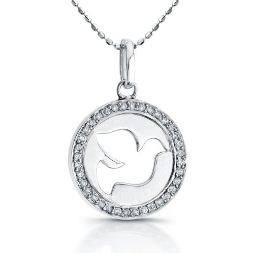 Victoria Kay 1/6ct TDW White Diamond Dove Cut-Out Pendant in Sterling Silver (JK, I2-I3), 18