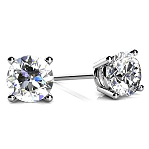 0.75 Carat 4 Prong Stud Earrings in Platinum F-G Color SI2-SI3 Clarity Round Cut Diamond Earrings with push back setting
