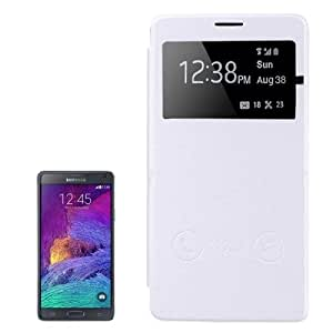 Crazy4Gadget Horizontal Flip Leather Case with Call Display ID for Samsung Galaxy Note 4(White)