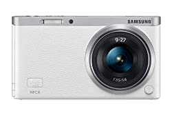Samsung NX Mini 20.5MP CMOS Smart WiFi and NFC Compact Interchangeable Lens Digital Camera with 9-27mm Lens and 3-inch Flip-Up LCD Touchscreen (White), 16GB card