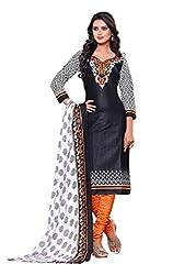 SayShopp Fashion Women's Unstitched Regular Wear Cotton Printed Salwar Suit Dress Material (ZDM-01_Black,Orange_Free Size)