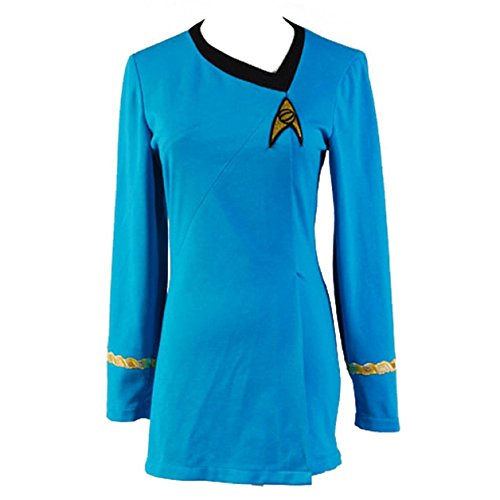[Cosparts Star Trek Red &Blue TOS Female Duty Uniform Cosplay Dress (US Size M, Blue)] (Red Star Trek Dress)
