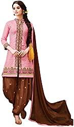 Awesome Women's Cotton Silk Unstitched Dress Material (Pink and Brown)