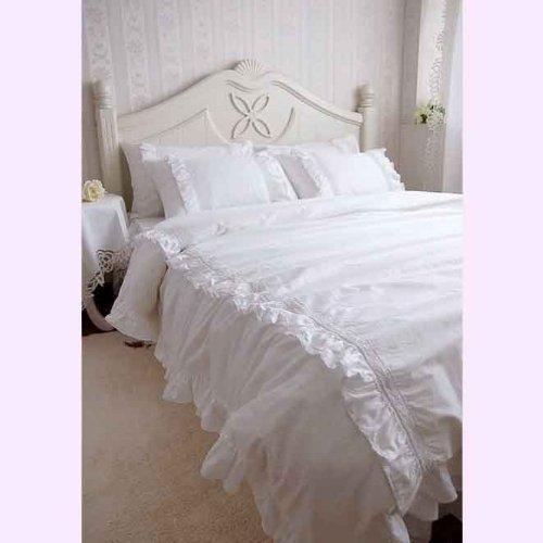 shabby chic bedding Shabby and Elegant White Lace ruffle